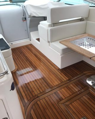 New cockpit teak on a Riv. Fortunately inside so missed the rain😊